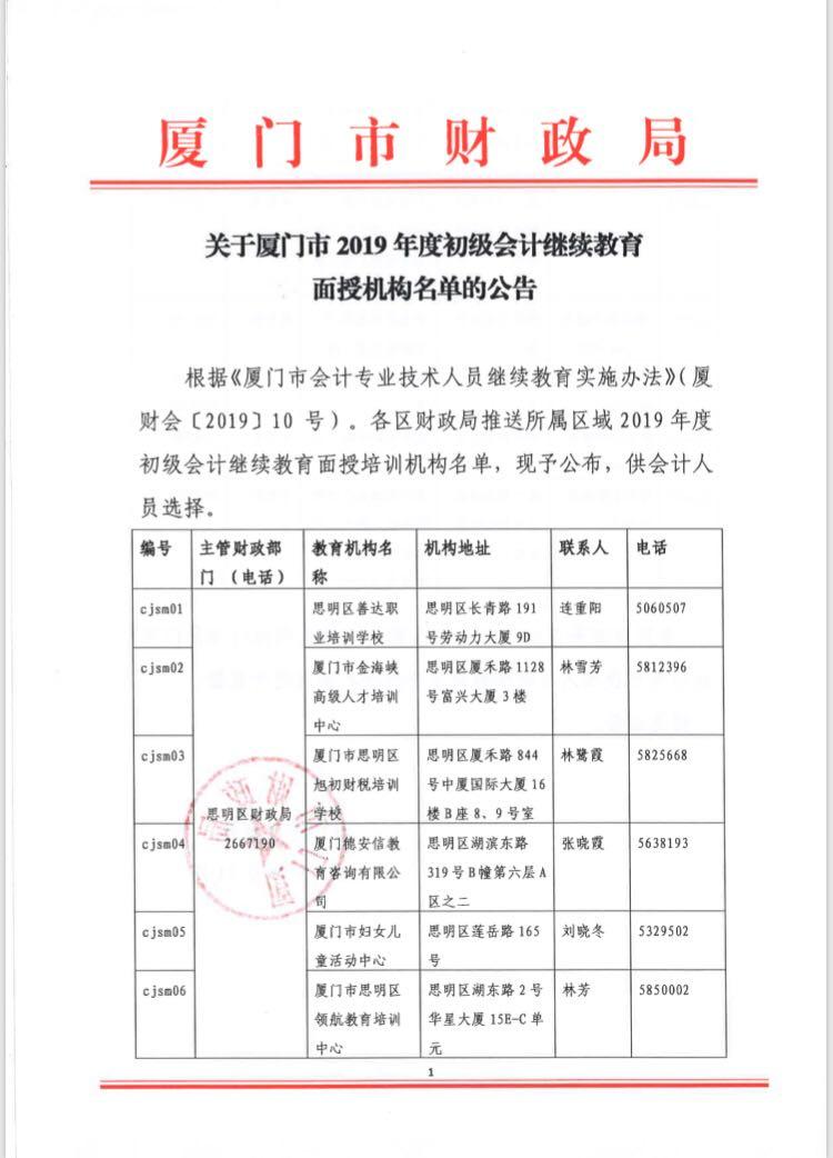 2019厦门会计人员继续教育面授培训名单